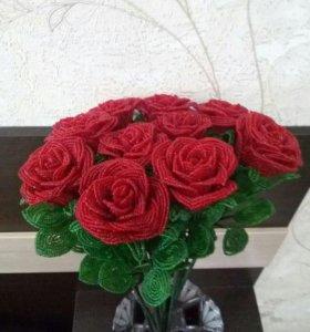 Розы из бисера🌹🌹🌹1 шт-500 руб