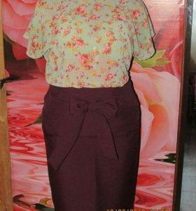 Новая р-р 50. юбка карандаш.цвета сливы.с бантом