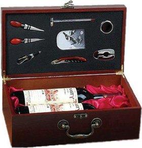 """Подарочный кейс для вина """"Сомелье"""" с инструментами"""