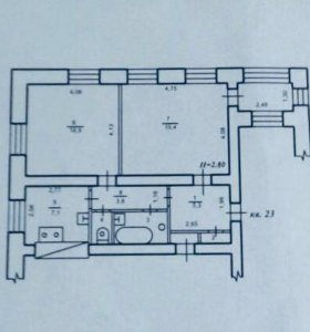 Квартира, 2 комнаты, 59.7 м²