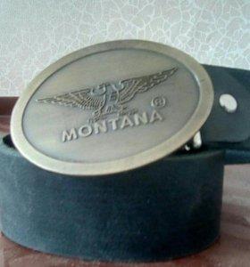 """Ремень кожаный с бляшкой """"montana"""""""