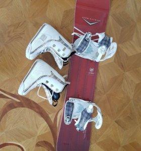 Сноуборд + крепежи + ботинки
