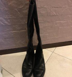 Кожаные сапоги-ботфорты, б/у, 39-39,5 р