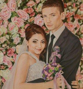 Семейный, свадебный, детский портрет пастелью
