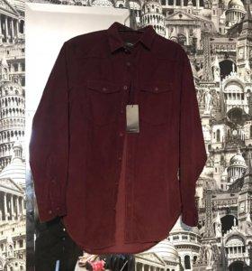 Reserved Новая рубашка бордовая вельветовая