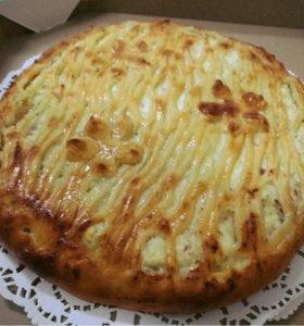Осетинский пирог с творогом и яблоками