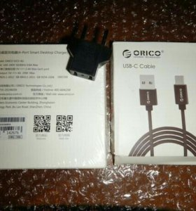 Зарядное Orico на 4 порта + кабель Type C