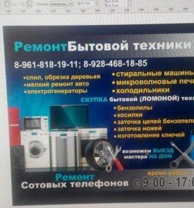 РЕМОНТ БЫТОВОЙ ТЕХНИКИ ПИЛЫ КОСИЛКИ стиральные )