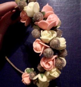 Ободок с цветами handmade