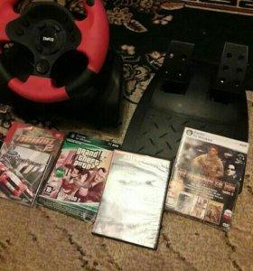 Руль и педали для пк. Бонус 4 дисков игр.
