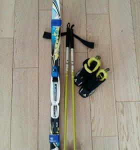 Беговые лыжи, ботинки, палки