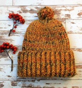 Тёплая вязаная шапка, жёлтая, мужская, женская.