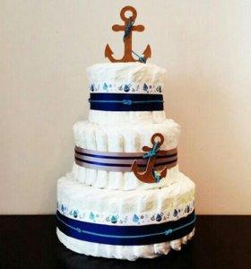 Тортик из памперсов Для маленького морячка