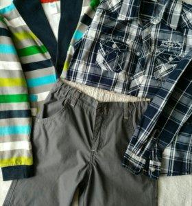 Новые рубашка,брюки+джемпер на мальчика 122размера