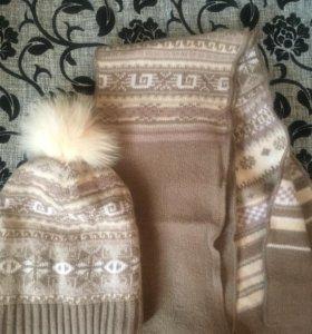 Шапка и шарф шерсть