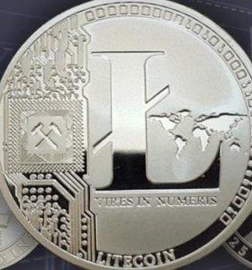 Монеты сувенирные Лайткоин, Биткоин
