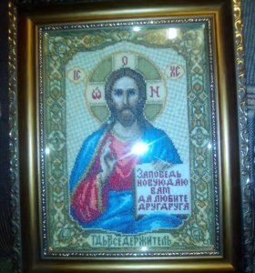 """Икона вышитая крестом""""Господь Вседержитель"""""""
