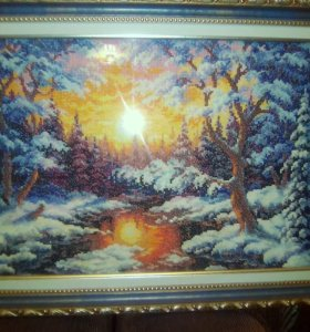 """Картина, вышитая крестом """"Закат в лесу"""""""