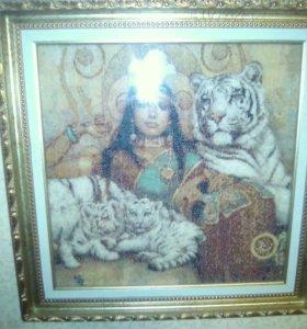 """Картина вышитая крестом """"белые тигры"""""""