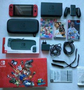 Новый Nintendo Switch (рст,гарантия)+игры+чехол