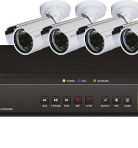 Видеонаблюдение. Готовый комплект 4 камеры