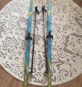 Лыжи беговые 170 см., с палками 110 см.