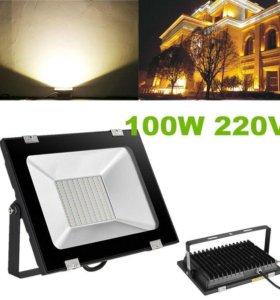 Светодиодный прожектор настенны теплый белый 100Вт