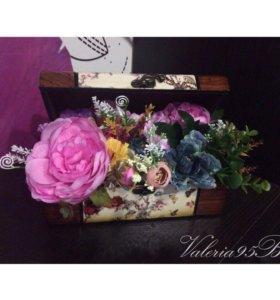 Шкатулки с цветами,топиарии