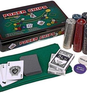 Наборы для игры в покер в металлической коробке