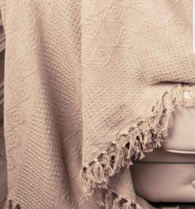 Вязаное покрывало-плед хлопок 100%