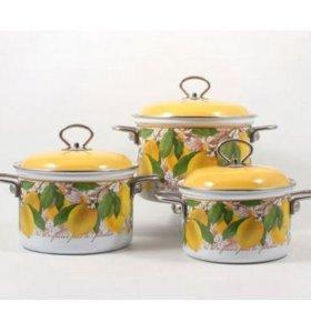 Набор кастрюль Лимон 1,5, 2 и 3 л