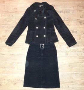 Куртка-жакет и юбка вельветовые, 42-44