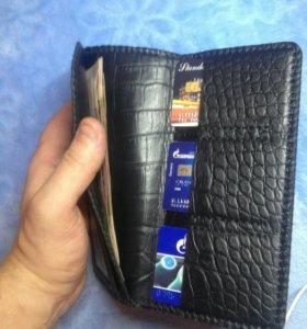 Мужской бумажник из натуральной кожи, ручная работ