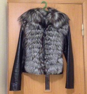 Куртка кожаная с меховой жилеткой (чернобурка)