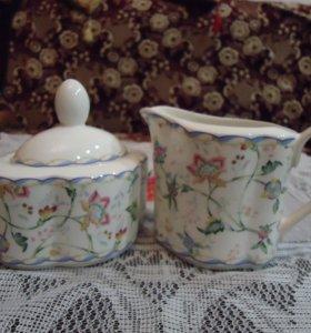 керамический набор молочник и сахарница с крышкой