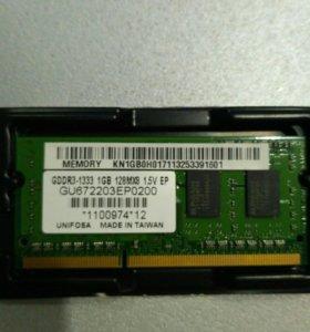 Оперативная память DDR3 1 Gb, для ноутбука