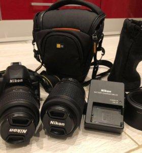Фотоаппарат Nikon d3100 и 2 об-ва 18-55, 55-200