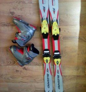 Детские горные лыжи с креплениями и ботинками