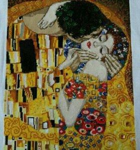 Вышитая картина по мотивам Г.Климта 《Поцелуй》