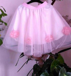 Нарядная юбка из еврофатина с атласным подкладом