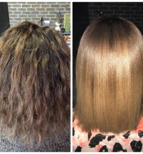 Кератиновое выпрямление (восстановление)волос
