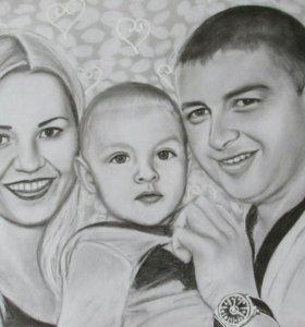Семейные портреты 3 чел.и больше