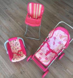 Коляска, переноска и стульчик для куклы