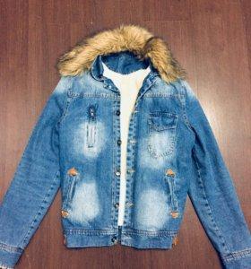 Тёплая джинсовая куртка нулячая)