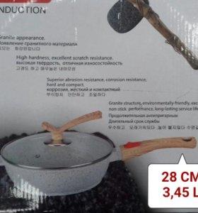 Сковорода-СОТЕЙНИК с крышкой. 28 см.
