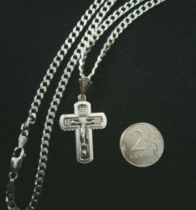 Серебро 925 цепочка с крестом.