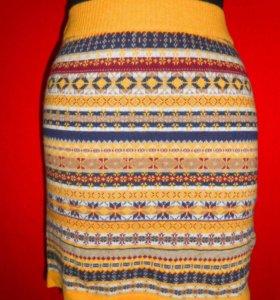 Новая вязаная юбка из хлопка и ангоры 40-42р.