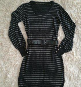 Платье черное с люрексом р.44