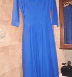 Платье синее в пол.