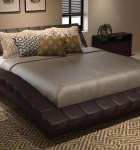 Кровать Интерьерная Оливия шоколадная экокожа